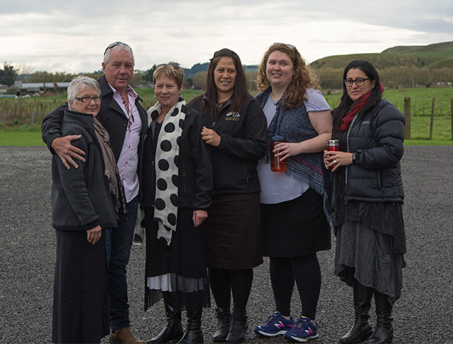 Heather, Don, Lynley Stacy, Valdine and Amohia during Valdines Powhiri